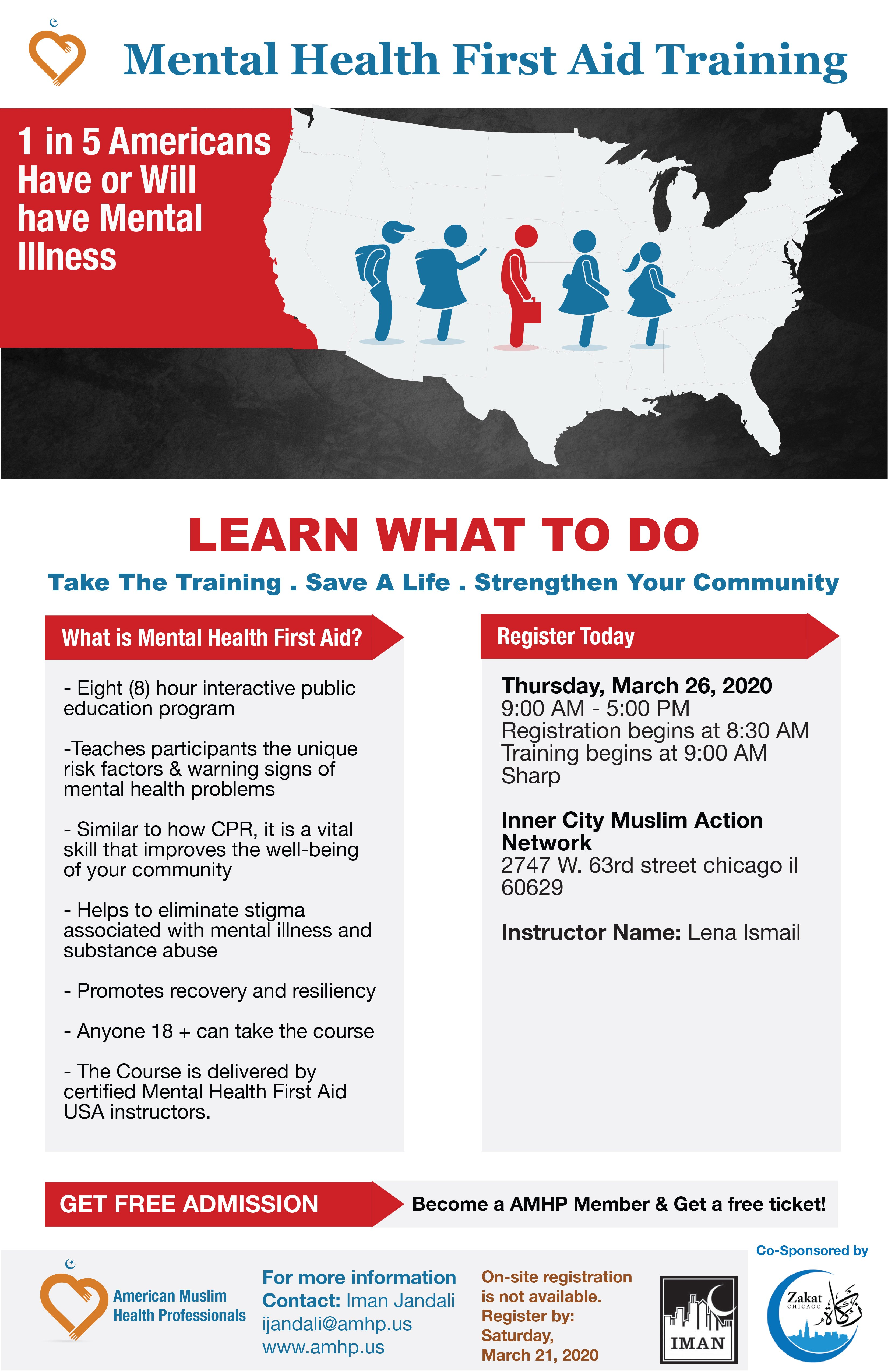 Mental Health First Aid Trainings Chicago Free American Muslim Health Professionals
