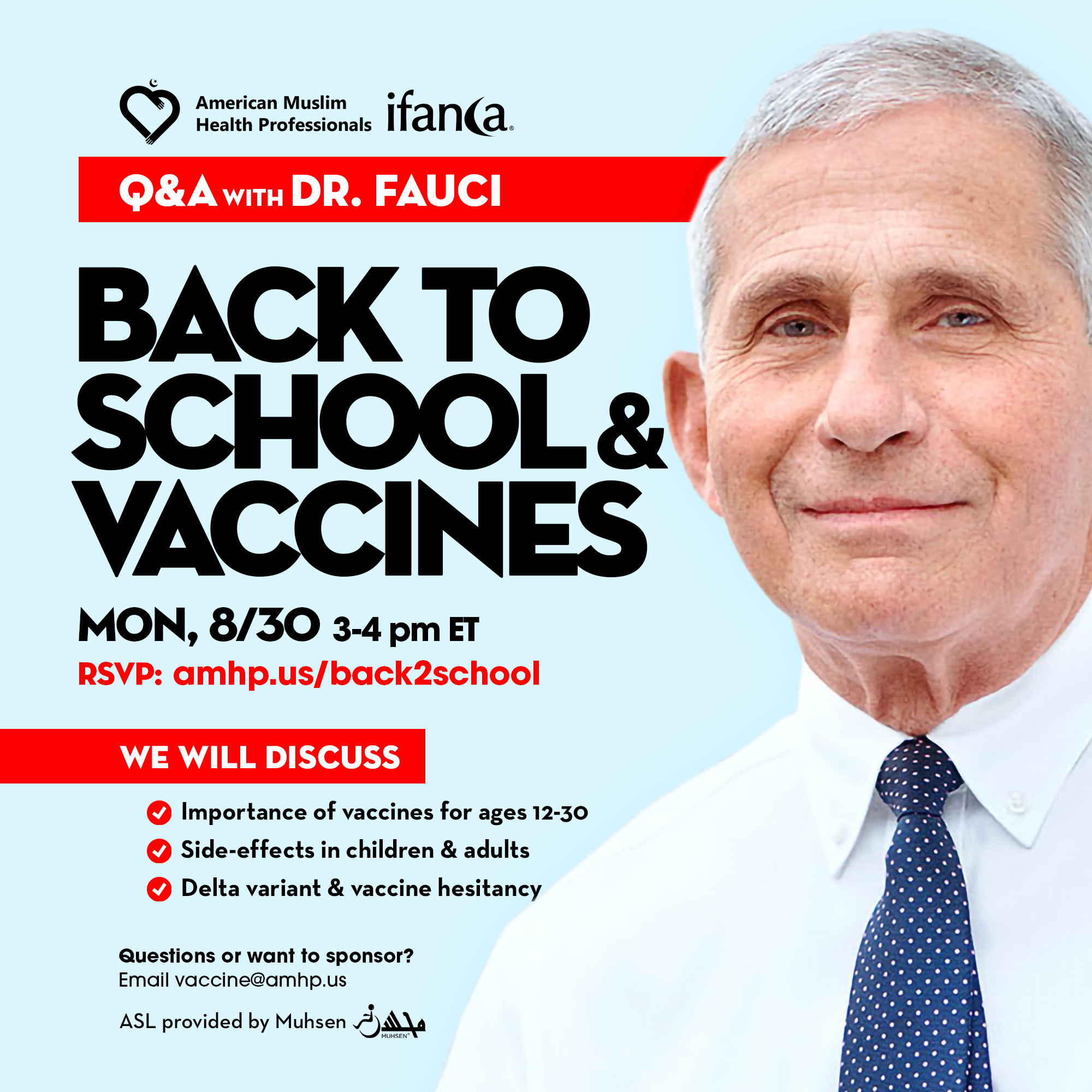 This image contains a picture of Dr. Anthony Fauci and presents information of Back to School webinar by the Merican Muslim Health Professionals AMHP and IFANCA
